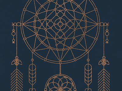 Dreamcatcher Art Print native american nathan goldman dan kuhlken bees beads feathers bronze dreamcatcher vector dkng