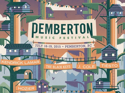 Pemberton Music Festival Poster tree house pemberton nathan goldman dan kuhlken birds clouds ladders mountains trees house vector dkng