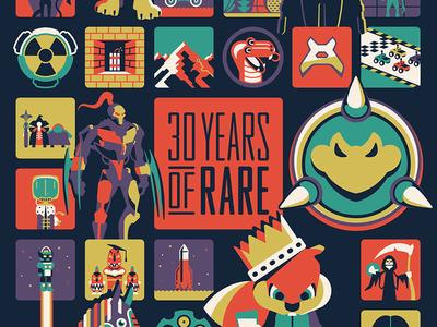 Xbox '30 Years of Rare' Poster nathan goldman dan kuhlken iam8bit microsoft xbox poster rare dkng