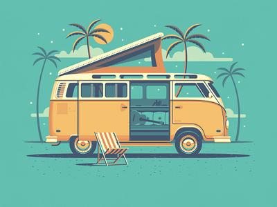 Explorer Club: Laguna beach chair vw bus explorers club nathan goldman dan kuhlken guitar chair clouds tree palm vw dkng