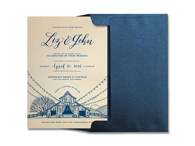 Wedding Invite typography dan kuhlken barn tree farm ink vineyard dkng