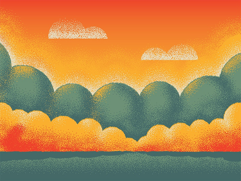 Mystery Project 72 nathan goldman dan kuhlken texture dither stipple grass clouds sunset trees vector dkng