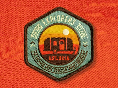 Explorer Club Patch nathan goldman dan kuhlken explorer sunset airstream embroidered patch dkng