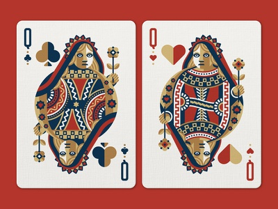 Face Off Friday (Queen of Clubs vs Queen of Hearts) playing cards playing card nathan goldman dan kuhlken flower queen vector club heart dkng