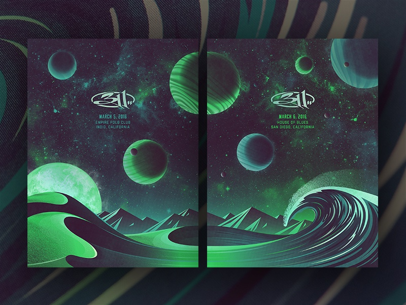 311 Southern California Posters (Foil Variant) nathan goldman dan kuhlken wave 311 mountain stars space planet sun vector dune dkng