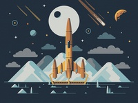 Explorers Club: Europa nathan goldman dan kuhlken rocketeer rocket mountains mountain stars space planet sun vector dkng