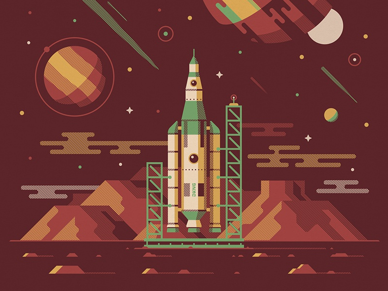 Explorers Club: Orion space shuttle nathan goldman dan kuhlken clouds spaceship moon stars space planet vector dkng