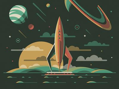 Explorers Club: Aquarius nathan goldman dan kuhlken saturn rocket spaceship stars space planet sun vector dkng