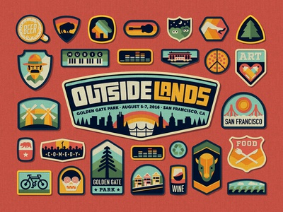 Outside Lands 2016 Festival Branding outside lands san francisco nathan goldman dan kuhlken logo branding city badge patch vector dkng