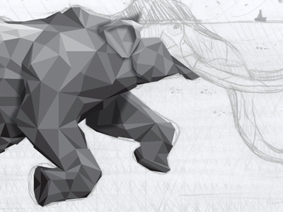 Mystery Project 11 elephant mammoth underwater sketch 3d swimming dan kuhlken nathan goldman poster screen print silkscreen dkng polygon geometric illustration vector explosions in the sky gig poster