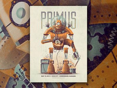 Primus Gig Poster gig poster nathan goldman dan kuhlken guitar amp bass primus vector robot dkng