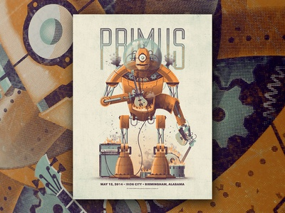 Primus Gig Poster gig poster nathan goldman dan kuhlken guitar amp bass primus vector robot dkng
