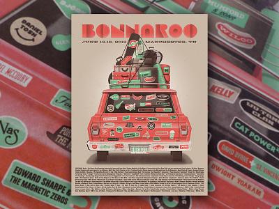 Bonnaroo 2013 Artist Proof bumper sticker road trip nathan goldman dan kuhlken sticker stickers luggage car vector dkng