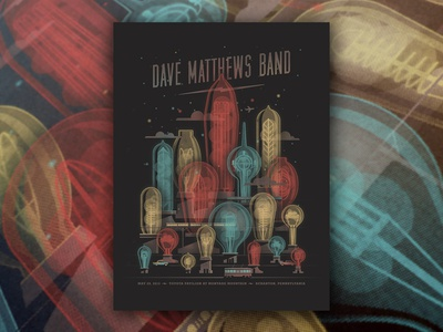 Dave Matthews Band Archive dave matthews band light bulb nathan goldman dan kuhlken night stars clouds trolley electric city vector dkng