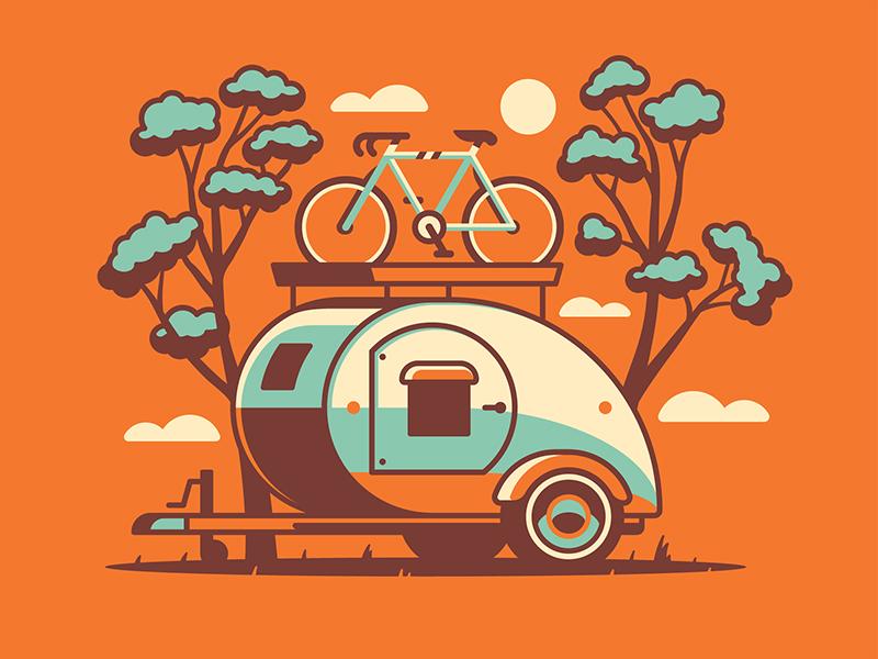 Mystery Project 80 nathan goldman dan kuhlken camper camping bike trees teardrop trailer vector dkng