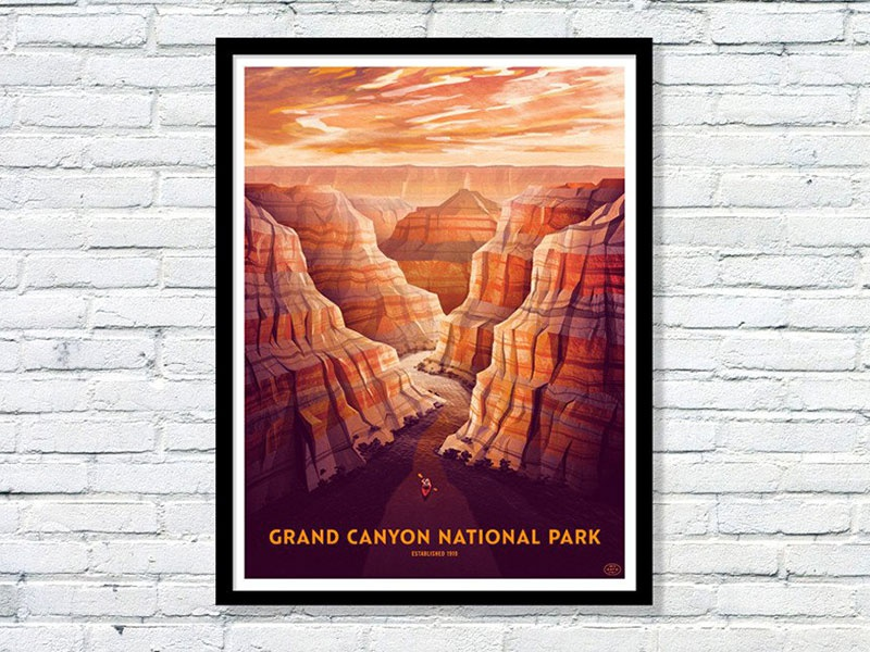 Grand Canyon National Park Poster national park grand canyon nathan goldman dan kuhlken kayak arizona clouds vector dkng