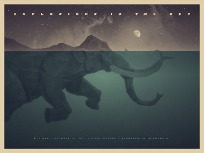 Explosions In The Sky elephant mammoth underwater sketch 3d swimming dan kuhlken nathan goldman poster screen print silkscreen explosions in the sky art print gig poster dkng