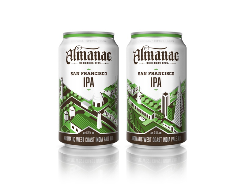 Almanac Beer Co. - San Francisco IPA nathan goldman dan kuhlken geometric city gif animation packaging can almanac beer isometric dkng