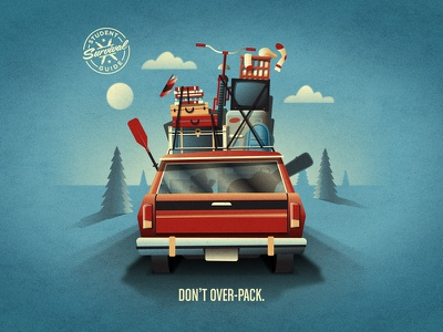 Bank of America Student Survival Guide - Don't Over-Pack road trip nathan goldman dan kuhlken bike guitar road clouds suitcase car tree dkng