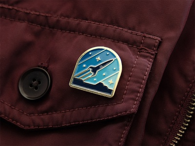 Explorers Club: Rocketeer Pin enamel pin nathan goldman dan kuhlken brooche stars galaxy space pin rocketeer rocket dkng