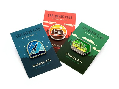 Explorers Club: Pin Pack enamel pin nathan goldman dan kuhlken space camper rocket bicycle bike geometric brooche pin dkng