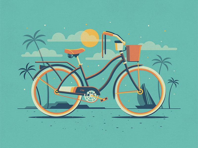 Explorers Club: Malibu palm trees beach cruiser nathan goldman dan kuhlken clouds beach stars cyclist bicycle bike dkng