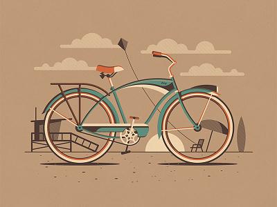 Explorers Club: Venice lifeguard tower beach cruiser nathan goldman dan kuhlken sunset kite clouds beach cyclist bicycle bike dkng