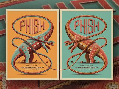 Phish Alpharetta, GA Posters nathan goldman dan kuhlken screenprint poster diptych gigposter brontosaurus dinosaurs dinosaur dkng