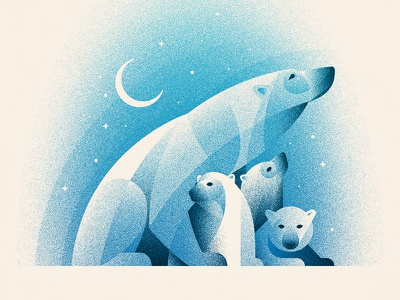 Polar Bears Art Print Benefiting NRDC polar bears polar bear geometry nathan goldman dan kuhlken texture vector winter moon arctic geometric dkng