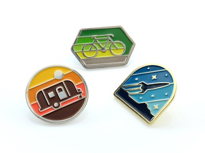 DKNG Enamel Pins enamel pin geometry nathan goldman dan kuhlken bike rocket camper icon badge pin geometric dkng