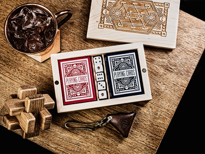 DKNG Tandem Gaming Set nathan goldman dan kuhlken packaging wood bicycle bike geometric dkng