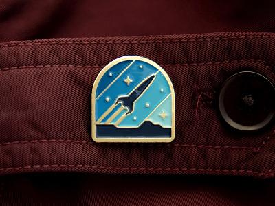 Rocketeer Pin geometry nathan goldman dan kuhlken badge pin space rocket stars geometric dkng