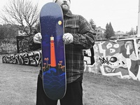 Lighthouse Skateboard Deck by Michelle Francis