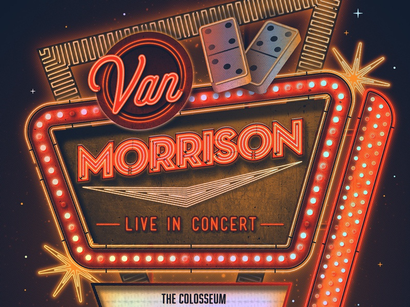 Van Morrison Las Vegas Poster las vegas van morrison nathan goldman dan kuhlken domino neonsign neon gigposter poster dkng