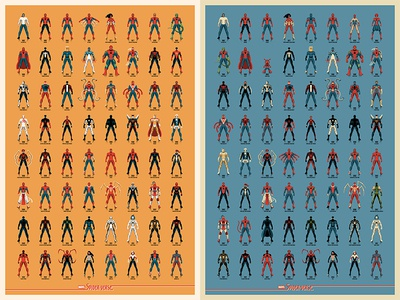 Spider-verse Posters spider-man vector dkng studios nathan goldman dan kuhlken infographic poster mondo marvel spiderman dkng