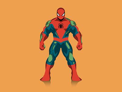Spider-verse hulk dkng spiderman marvel mondo poster infographic dan kuhlken nathan goldman dkng studios vector spider-man