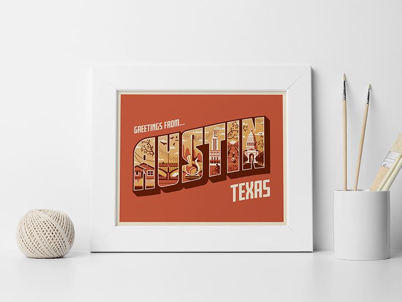 'Greetings From Austin' Art Print art print greetings from vector dkng studios nathan goldman dan kuhlken screenprint postcard sxsw texas austin dkng
