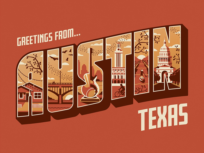 Greetings From Austin Art Print typography lettering greetings from vector dkng studios nathan goldman dan kuhlken postcard sxsw texas austin dkng