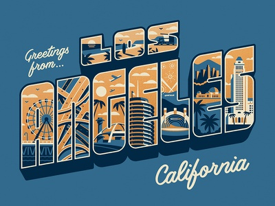 Greetings From Los Angeles Art Print los angeles dkng studios nathan goldman dan kuhlken typography type city beach building la dkng