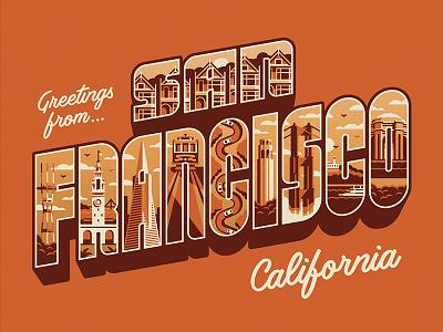 Greetings From San Francisco Art Print postcard san francisco dkng studios nathan goldman dan kuhlken bay typography type dkng