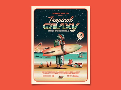 Tropical Galaxy Poster almanac dkng studios nathan goldman dan kuhlken label packaging planet space astronaut beer dkng
