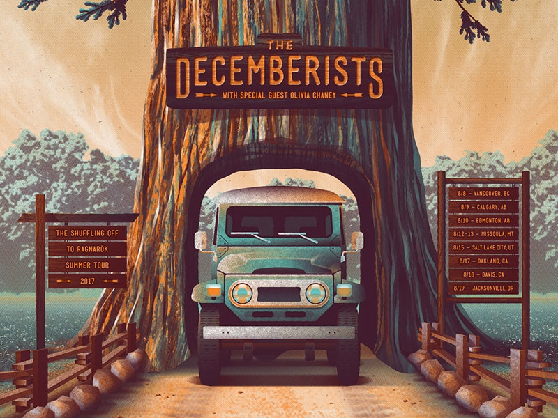 The Decemberists 2017 Tour Poster gig poster the decemberists dkng studios nathan goldman dan kuhlken sequoia redwood tree poster decemberists dkng