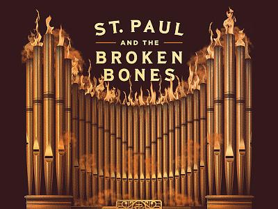 St. Paul & The Broken Bones 2017 Tour Poster st paul and the broken bones pipe organ dkng studios nathan goldman dan kuhlken metallic gold organ poster gigposter dkng