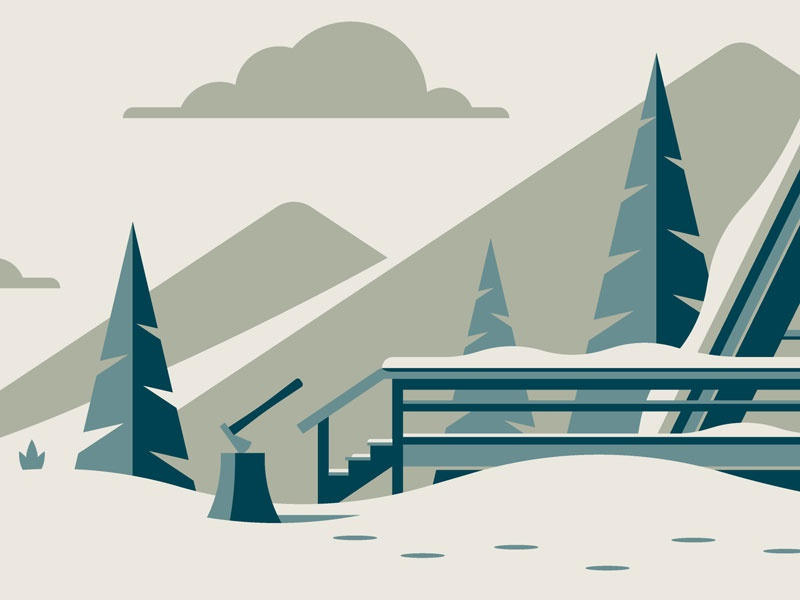 Mystery Project 88 winter cabin a frame dkng studios nathan goldman dan kuhlken clouds mountains snow trees tree dkng