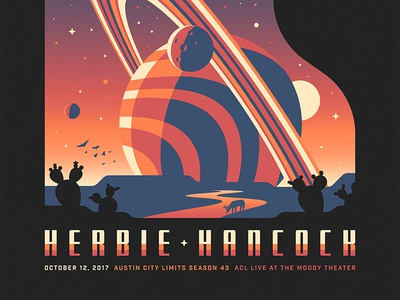 Herbie Hancock Design herbie hancock dkng studios nathan goldman dan kuhlken cactus saturn planet space piano poster gigposter dkng