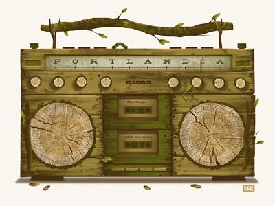 Portlandia Mixology Poster boombox carrie brownstein ifc dan kuhlken nathan goldman art print poster screen print silkscreen portlandia fred armisen dkng