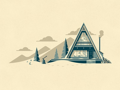 Cascade Art Print winter cabin a frame dkng tree trees snow mountains clouds dan kuhlken nathan goldman dkng studios