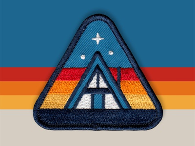 Cabin Patch a-frame cabin icon retro vector logo badge patch dan kuhlken nathan goldman dkng studios dkng