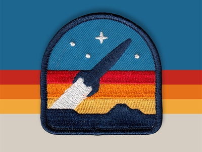 Rocketeer Patch launch rocket icon retro vector logo badge patch dan kuhlken nathan goldman dkng studios dkng