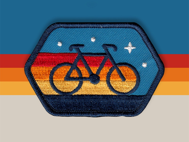 Cyclist Patch a-frame cabin icon retro vector logo badge patch dan kuhlken nathan goldman dkng studios dkng